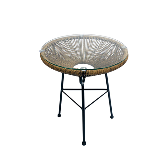 Table basse rotin synth tique 45cm champ tre chic 55 for Table rotin et verre
