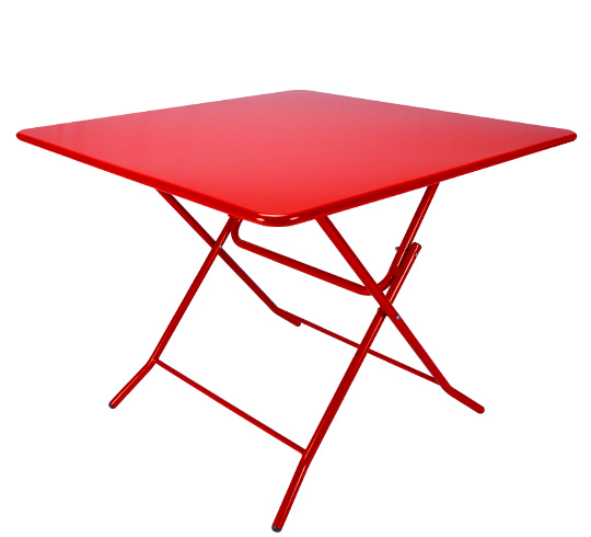 Table de Jardin Pliante 90x90cm Rouge Mat
