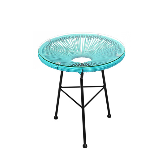 Table d 39 appoint acapulco fil bleu turquoise d45cm 59 for Table d appoint jardin