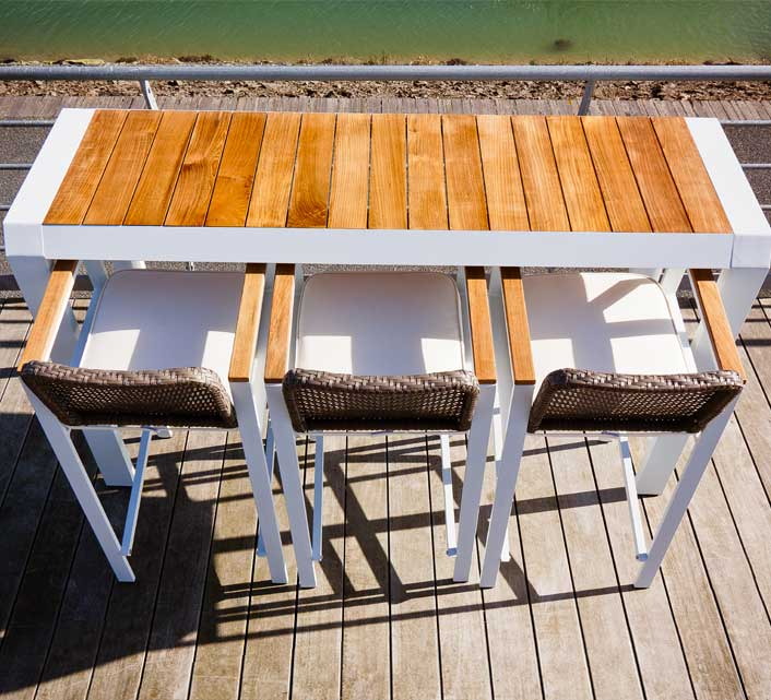 Table haute de Jardin Bar Alu Blanc Teck Miami H 194 cm 459€ | Salon