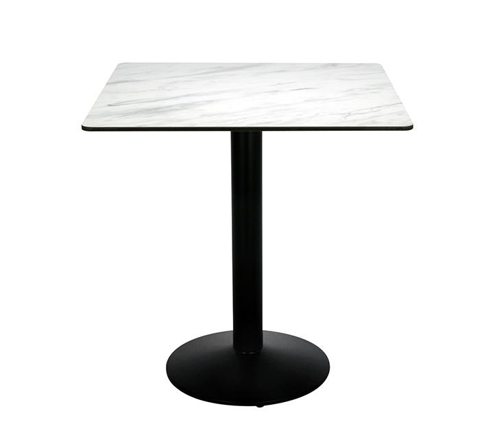grande vente 8ccaa d45d5 Table Bistrot Carrée Pied Rond Plateau HPL 70cm Effet Marbre Blanc