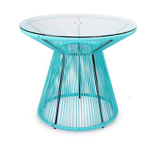 Table de jardin acapulco fil bleu turquoise d86cm 145 for Table jardin bleu