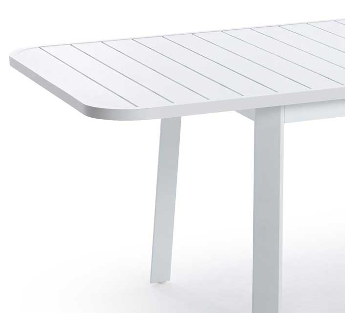 Table de Jardin Alu Blanc 8 Personnes Extensible 200 x 100 cm Klara 8