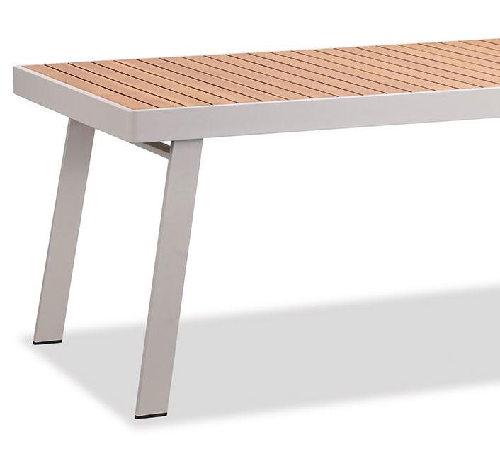 Salon de jardin aluminium et bois teck 8 personnes table 220x90 nofi beige 1769 salon d 39 t - Salon de jardin teck et aluminium ...