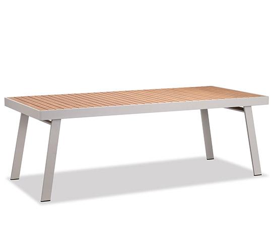 Table de Jardin Aluminium et Teck 8 Personnes Beige 220 x 90 cm Nofi