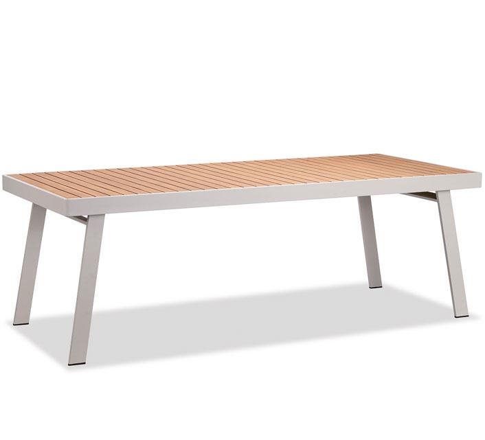 Table de Jardin Aluminium 220x90cm Plateau Teck Nofi Beige