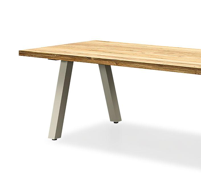 Table de Jardin Aluminium Plateau Teck 240x100cm Nofi Beige