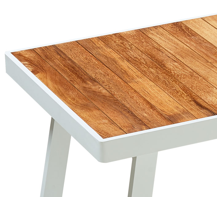 Table de Jardin Aluminium 260x90cm Sainte-Lucie Plateau Teck Blanc ...