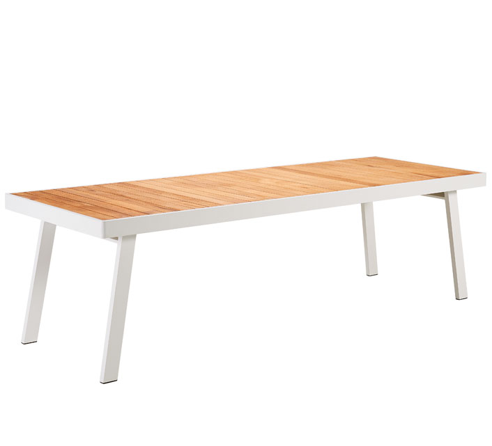 Table de Jardin Aluminium 260x90cm Saint Lucie Plateau Teck Blanc