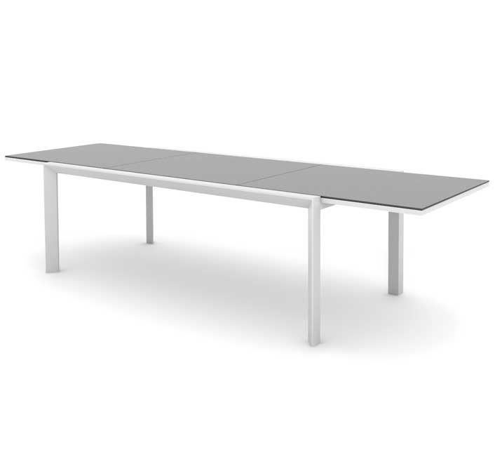 Table de Jardin Aluminium Extensible 220-340cm Plateau Verre Klara Bl
