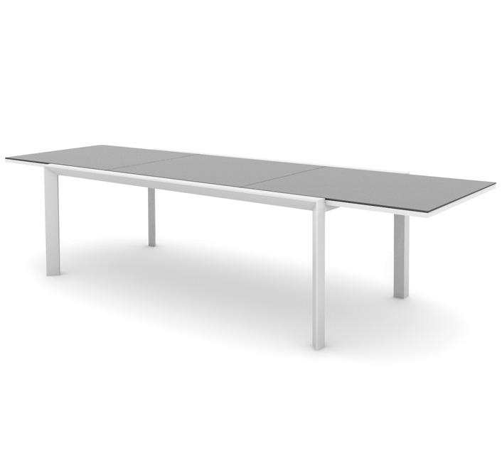Table de Jardin Aluminium 12 Personnes Plateau Verre Extensible Klara L 220  à 340 cm