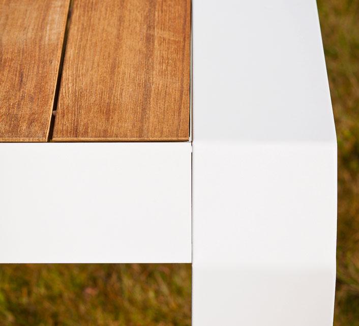 Table de Jardin Aluminium Plateau Teck 160x100cm Miami Blanc