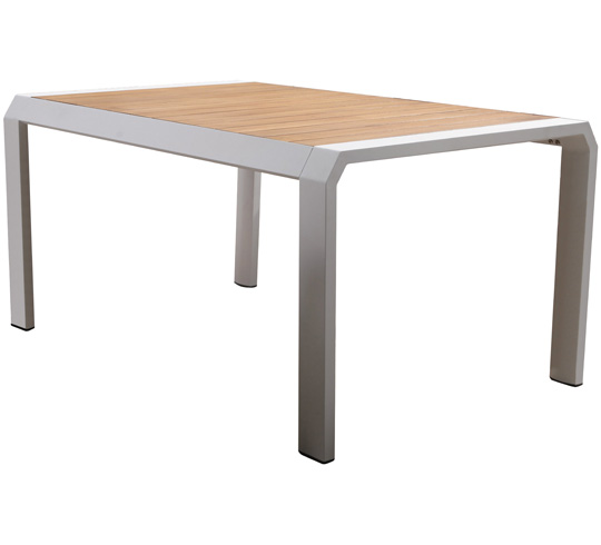 Table de jardin aluminium blanc teck miami 8 personnes 200 for Table 8 personnes