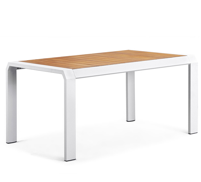 Table de Jardin Aluminium Blanc Teck Miami 6 Personnes 160 x 100 cm 5