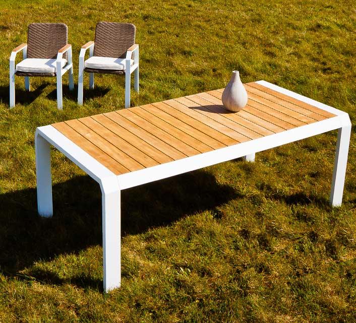 Table De Jardin Aluminium Blanc Teck Miami 8 Personnes 200