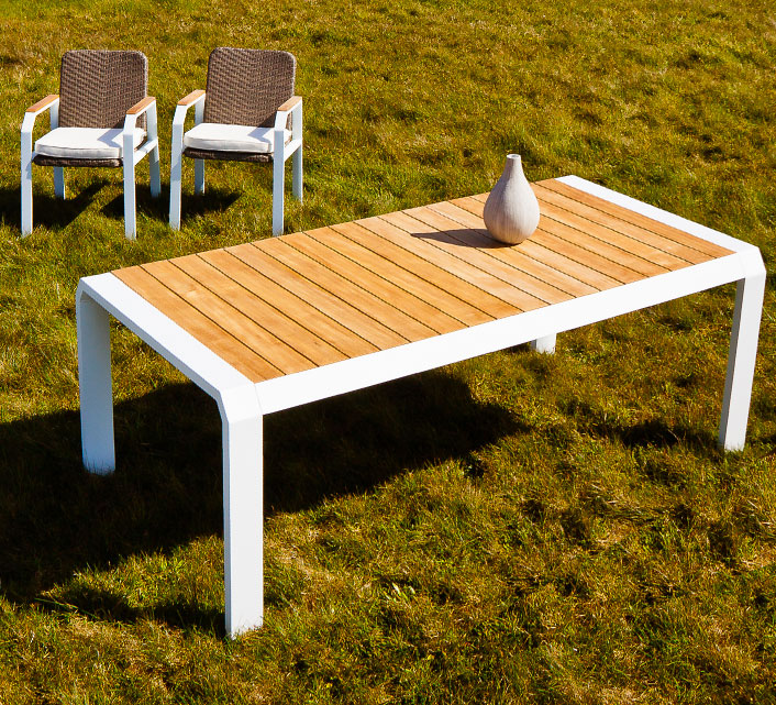 salon de jardin aluminium 6 personnes table 160x100 miami blanc 1199 salon d 39 t. Black Bedroom Furniture Sets. Home Design Ideas