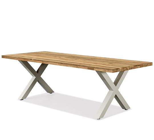 Table de jardin aluminium et teck 10 personnes beige 240 x 100 cm nof - Salon de jardin teck et aluminium ...