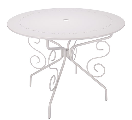 table de jardin ronde d95cm romantique blanche 4 places. Black Bedroom Furniture Sets. Home Design Ideas