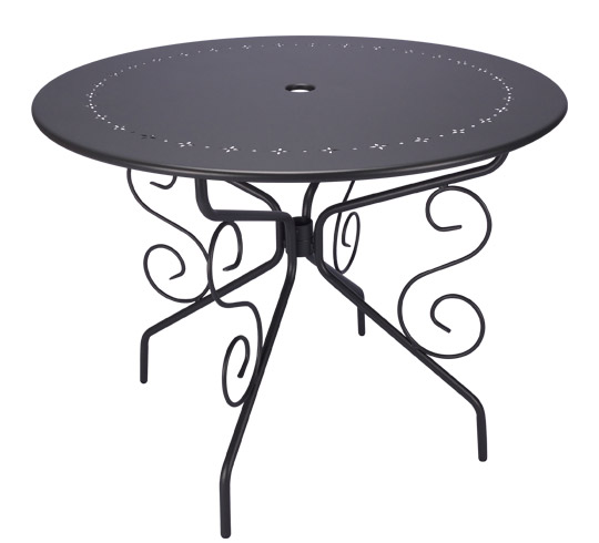 Table De Jardin Ronde D95cm Romantique Gris Anthracite 4 Places 129