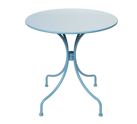 table de jardin ronde 70cm bleu pastel mat 59 salon d 39 t. Black Bedroom Furniture Sets. Home Design Ideas