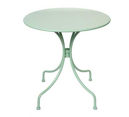 Table de Jardin Ronde D70cm Vert D\'eau Mat