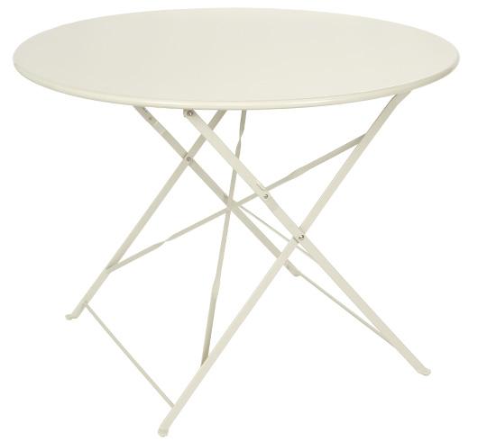 Table de jardin ronde pliante 95cm beige mat 89 salon d 39 t for Dimension table ronde pour 4 personnes