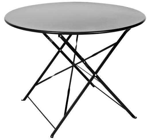 Table de Jardin Pliante Ronde D95cm Noir Mat