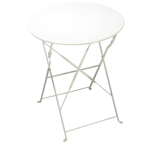Table de Jardin Pliante Ronde D60cm Blanc Brillant