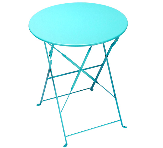 table de jardin ronde pliante 60cm bleu turquoise brillant. Black Bedroom Furniture Sets. Home Design Ideas