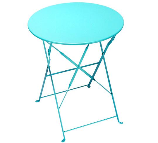 Table de jardin ronde pliante 60cm bleu turquoise brillant - Table de jardin new york toulon ...