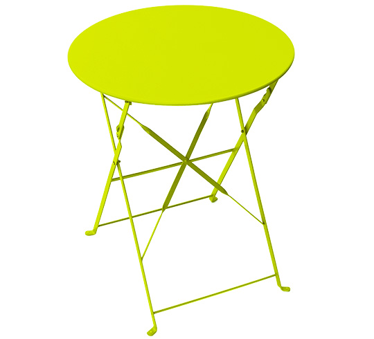 Table de Jardin Ronde Pliante 60cm Vert Anis Brillant