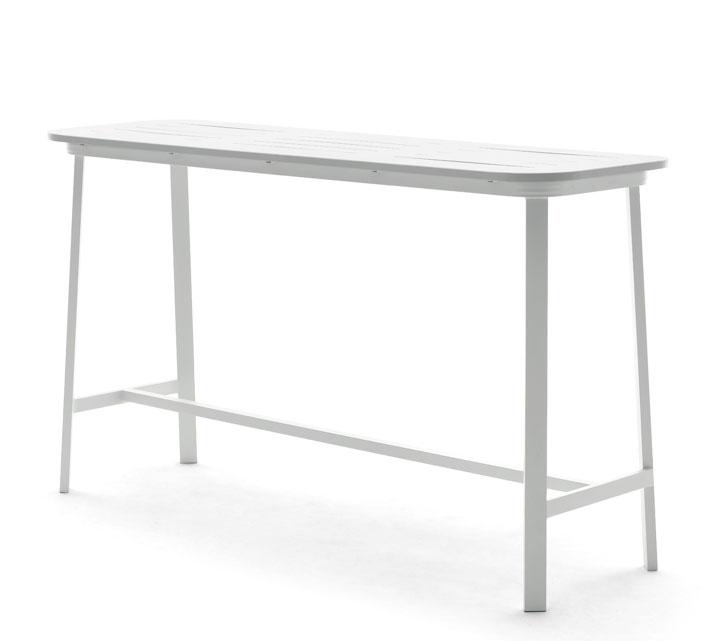 Table Haute de Jardin H102cm Aluminium Bar Klara Blanc
