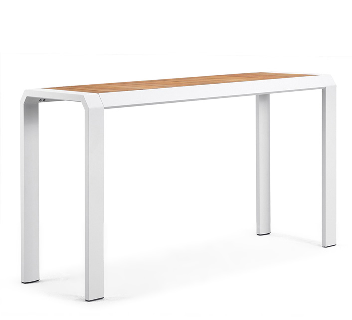 Table haute de Jardin Bar Alu Blanc Teck Miami H 194 cm
