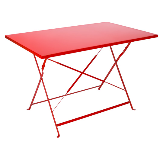 Table de Jardin Pliante 110x70cm Rouge Mat