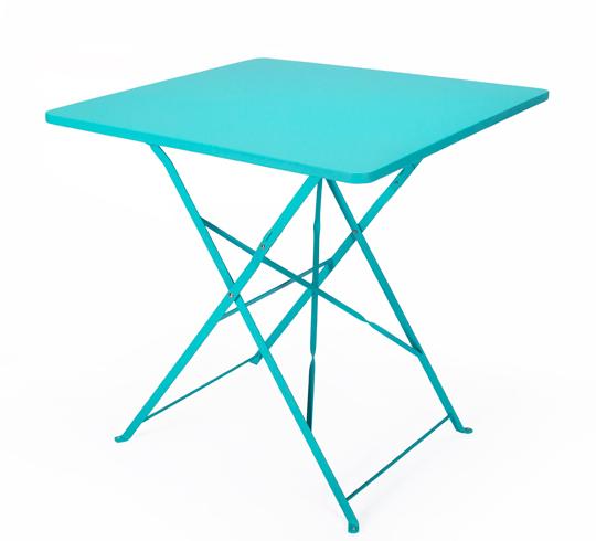 Table de jardin pliante 70x70cm bleu turquoise mat 64 for Table jardin bleu