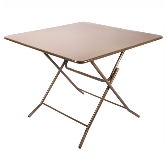 Table de jardin pliante 90x90cm taupe mat 109 salon d 39 t for Table de jardin bistrot